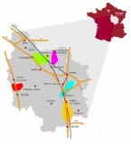 Carte des 5 bassins d'extraction de la pierre de Bourgogne