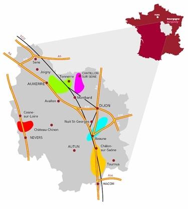 Carte Des 5 Bassins Dextraction De La Pierre Bourgogne